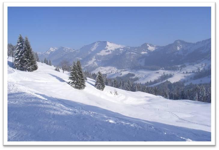 Blick auf den Hochgrat im Winter von der Hütte